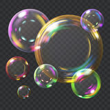 Multicolored soap bubbles. Multicolored transparent soap bubbles with glares. Transparency only in vector format. Can be used with any background vector illustration