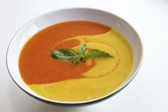 Multicolored soup with fresh herbs. White bowl of yellow and orange soup, with fresh herbs on the top stock image