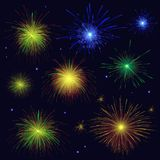 Multicolored sparkling vector blue, golden, green, red fireworks. Celebration multicolored sparkling vector blue, golden, green, red fireworks set. 4th of July Stock Photos