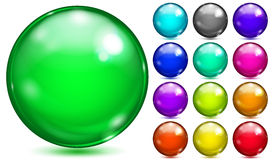 Multicolored spheres of various saturated colors Stock Photos