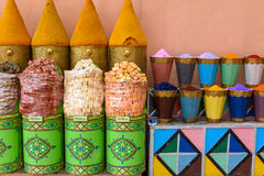 Multicolored spices at the market in Marrakech Royalty Free Stock Image