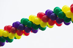 Multicolored spiral of balloons Stock Photo