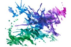 Multicolored splashes of paint for photoshop. Different watercolor splashes, spots for photoshop, abstraction with colour, inspirations royalty free stock photography