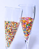 Multicolored Sprinkles in Champagne Royalty Free Stock Photos