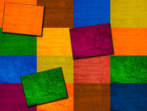 Multicolored square background. Various colors checkered background with texture Stock Photos