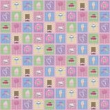 Multicolored Squares With Drawings Of Cute Sweets Ice Cream Donuts