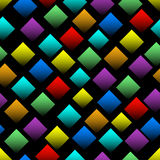 Multicolored squares with gradient on black background. Seamless vector background with 3d effect. Diamond shapes in rainbow color Royalty Free Stock Image