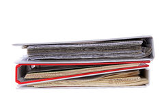 Multicolored stack of binders with papers stock photos