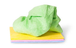 Multicolored stack cleaning cloths crumpled on top Stock Photo