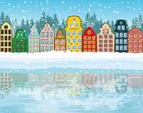 Multicolored Stad van Kerstmis Royalty-vrije Stock Fotografie