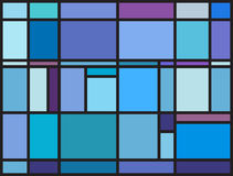 Multicolored stained glass window with irregular block pattern Stock Image