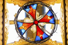 Multicolored stained glass window in the sun royalty free stock photos