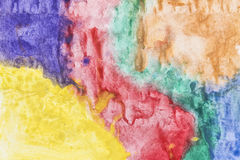 Multicolored stains watercolor painting as a background Stock Images