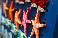 Multicolored starfish souvenirs Royalty Free Stock Images