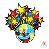 Multicolored stars fly out from beach volleyball ball character in sunglasses. Vector sport logo for any team and championship stock illustration