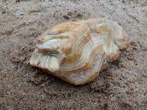 Multicolored steen met golvende textuur op het zand geweven behang als achtergrond, strand Oceaan stock afbeelding