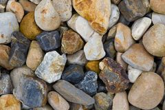 Multicolored stones on the sea coast close-up Stock Photography