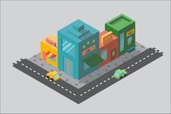 Multicolored straat in isometry Stock Afbeeldingen