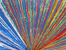 Multicolored street garland in a sunny day, in Tenerife, Canary Islands. Abstract horizontal shoot of a street garland detail, ready for midsummer celebration Stock Photo
