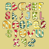 Multicolored striped alphabet Royalty Free Stock Photos