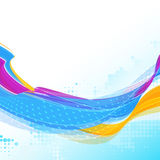 Multicolored striped wavy ribbon Stock Image