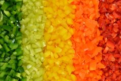 Multicolored stripes of five varieties sweet peppers Stock Photos