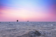 Multicolored sunset landscape silhouette of the Great Rann of Ku Stock Photo