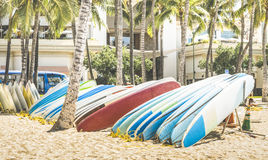 Multicolored surfboards at Waikiki Beach in Honolulu Hawaii Royalty Free Stock Photos