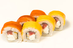Multicolored sushi rolls with fish Royalty Free Stock Image