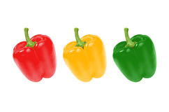 Multicolored sweet peppers. Isolated on white background Stock Photo