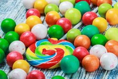 Multicolored sweets and chewing gum Stock Images