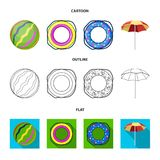 Multicolored swimming circle cartoon,outline,flat icons in set collection for design. Different lifebuoys vector symbol. Stock  illustration Stock Image