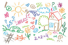 Multicolored symbols children drawing style  Royalty Free Stock Photography