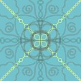 Yellow and grey neon symmetrical hand drawn ornaments on a pastel sky blue background, kaleidoscope style illustration vector illustration