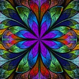 Multicolored symmetrical fractal flower in stained-glass window. Style. Artwork for creative design, art and entertainment Royalty Free Stock Image