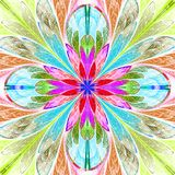 Multicolored symmetrical fractal flower in stained-glass window. Style. Computer generated graphics Royalty Free Stock Images