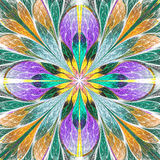 Multicolored symmetrical fractal flower in stained-glass window. Style. You can use it for invitations, notebook covers, phone cases, postcards, cards Royalty Free Stock Photography