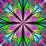 Multicolored symmetrical fractal flower in stained-glass window. Style. You can use it for invitations, notebook covers, phone cases, postcards, cards Stock Photo
