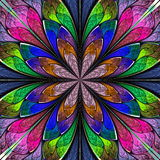 Multicolored symmetrical fractal flower in stained-glass window. Style. You can use it for invitations, notebook covers, phone cases, postcards, cards Stock Photos