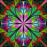 Multicolored symmetrical fractal flower in stained-glass window. Style. You can use it for invitations, notebook covers, phone cases, postcards, cards Stock Images