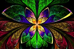Multicolored symmetrical fractal pattern as flower or butterfly. In stained-glass window style. On black. Computer generated graphics Royalty Free Stock Photos