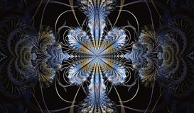 Multicolored symmetrical fractal pattern as flower. Or butterfly in stained-glass window style. Computer generated graphics Stock Image