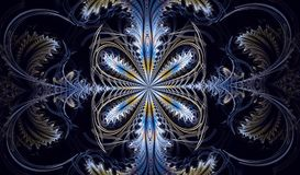 Multicolored symmetrical fractal pattern as flower. Or butterfly in stained-glass window style. Computer generated graphics Stock Photo