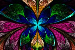 Multicolored symmetrical fractal pattern as flower or butterfly. In stained-glass window style. Computer generated graphics Stock Photos