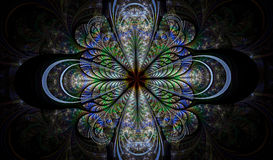 Multicolored symmetrical fractal pattern as flower. Or butterfly in stained-glass window style. Computer generated graphics Royalty Free Stock Images
