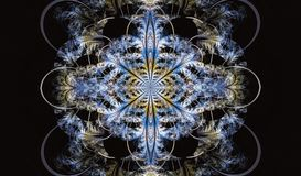 Multicolored symmetrical fractal pattern as flower. Or butterfly in stained-glass window style. Computer generated graphics Stock Photography