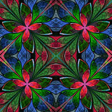 Multicolored symmetrical fractal pattern in stained-glass window Stock Photography