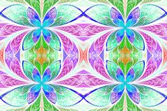 Multicolored symmetrical pattern in stained-glass window style. Royalty Free Stock Images