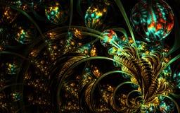 Multicolored symmetrisch fractal patroon als bloem Stock Foto