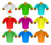 Multicolored T-shirts in a set Stock Photos